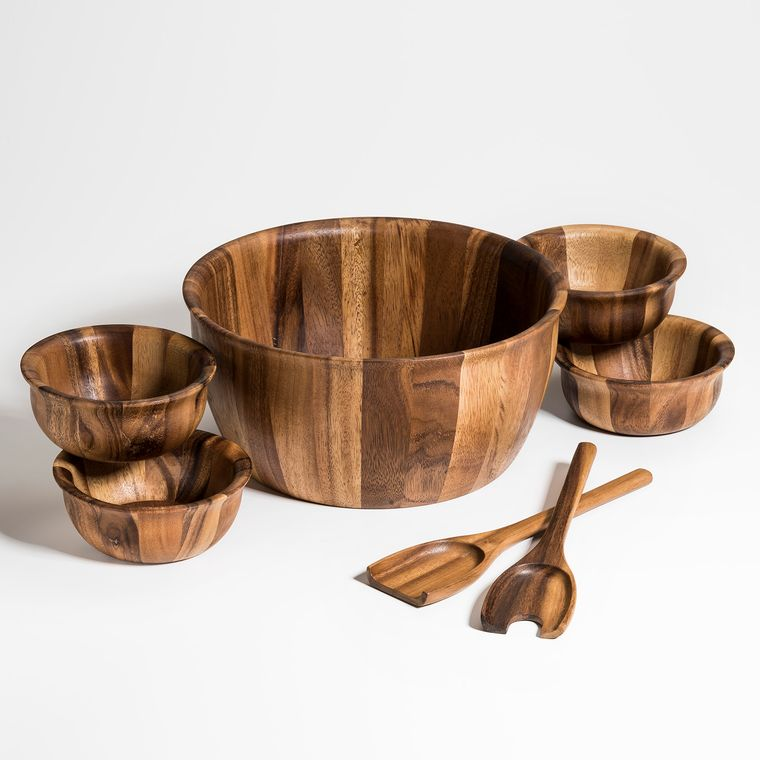 Soro 7 Pc Xtra Large Salad Bowl with Servers and 4 Individuals