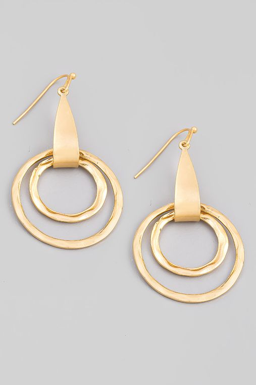 Double Circle Hook Drop Earrings