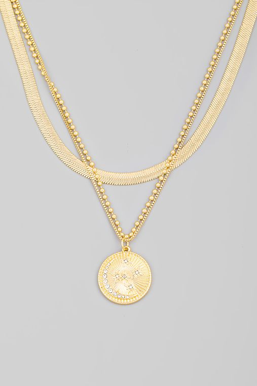 Pave Moon Coin Disc Pendant Layered Necklace