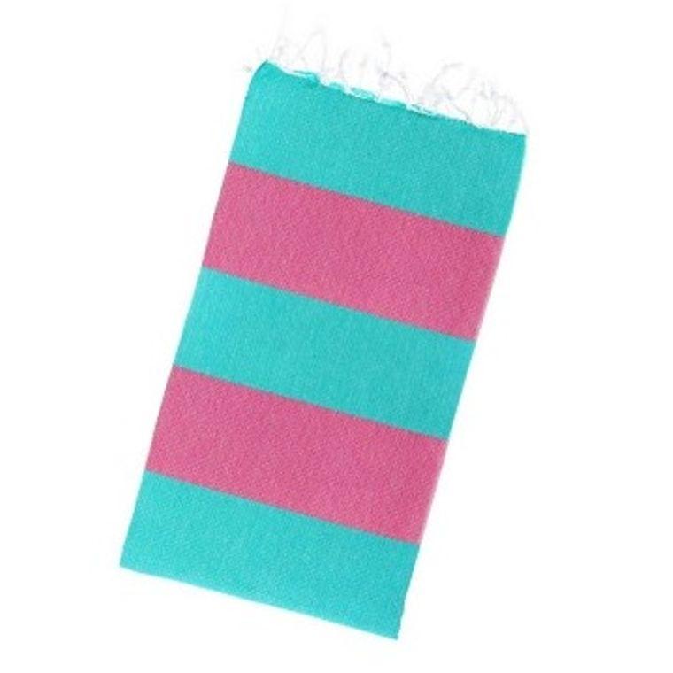 Happy Stripes Peshtemal Towel - Pink + Sea Green