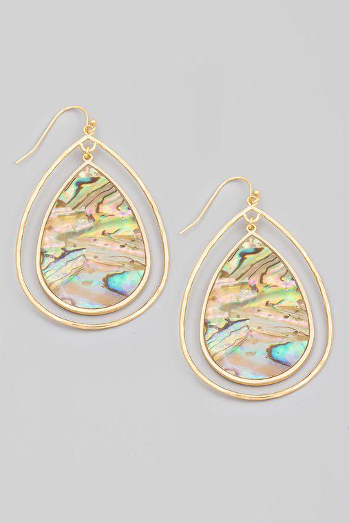 Abalone Shell Teardrop Earrings
