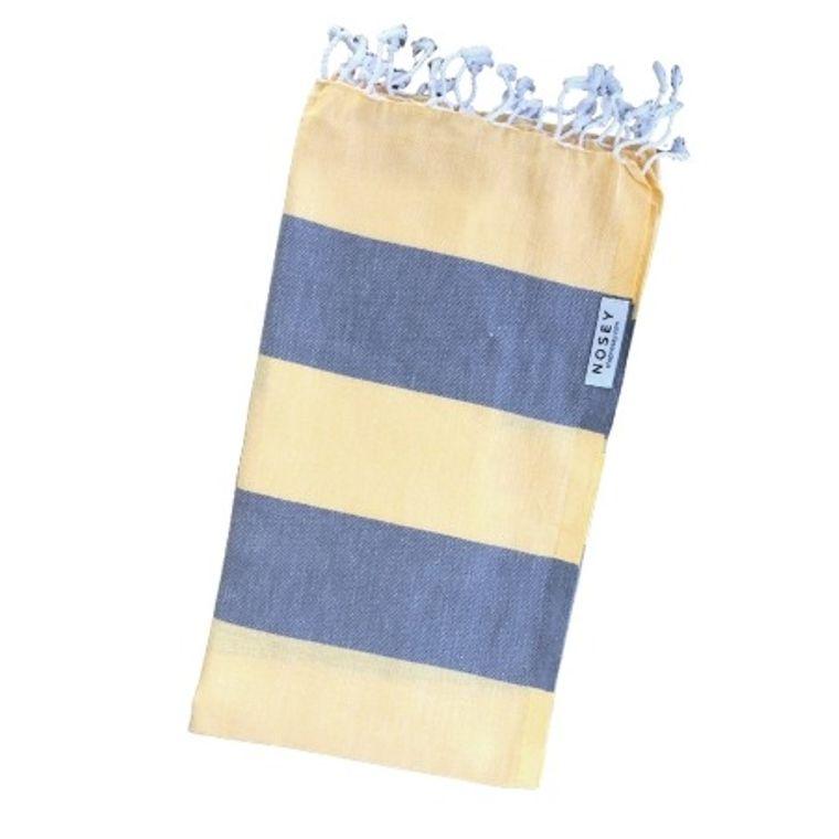 The Happy Stripes Turkish Towel - Yellow + Grey