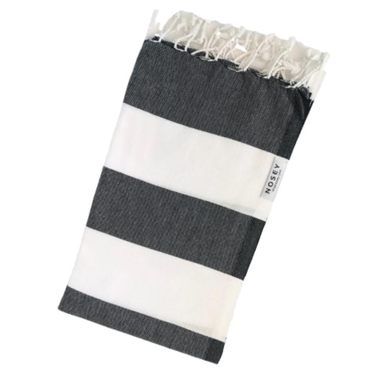 White Stripes Turkish Towel - Black + White