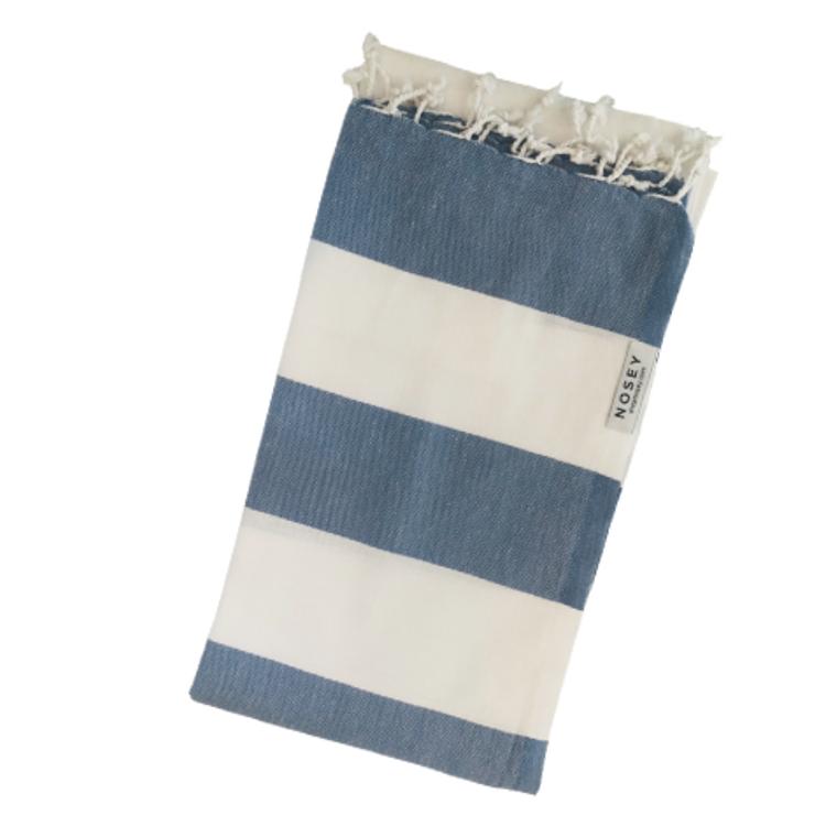 White Stripes Turkish Towel - Denim + White