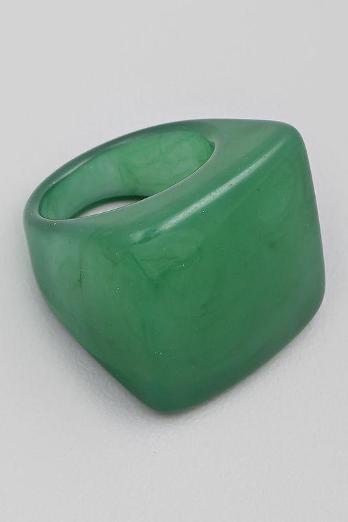 Resin Square Signet Fashion Ring