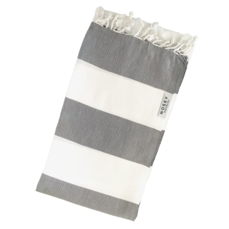 White Stripes Peshtemal Towel - White + Grey