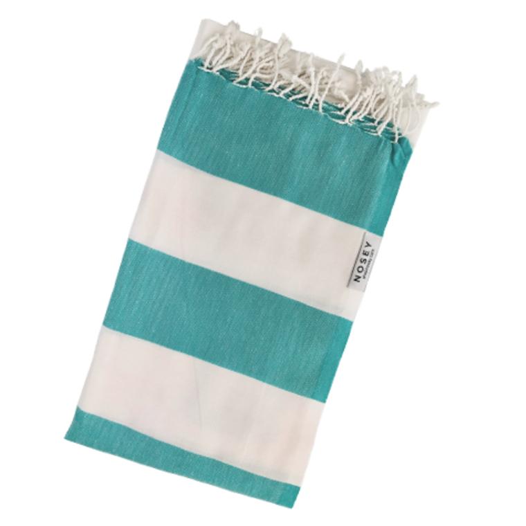 Turkish Towel White Stripes - Sea Green + White