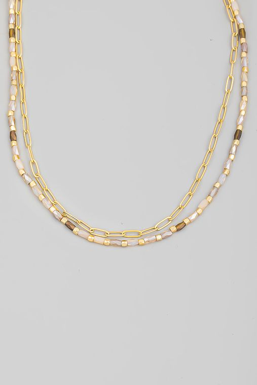 Layered Beaded Chain Link Necklace