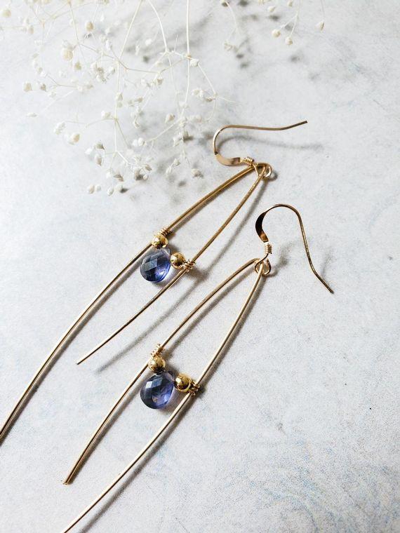 Lorelai Iolite Asymetrical Earrings