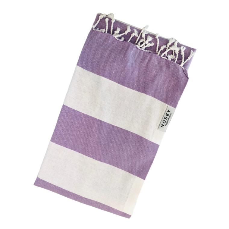 White Stripes Turkish Towel - Lilac + White