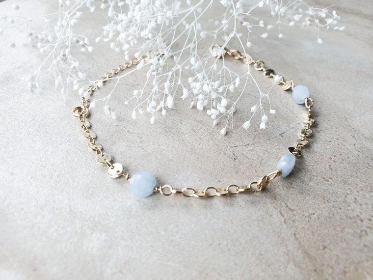 Yuri Aquamarine Disc Bracelet