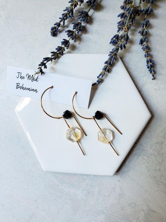 Harmony Citrine and Onyx Threader Earring