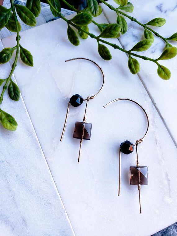 Harmony Smokey Quartz and Onyx Threader Earrings