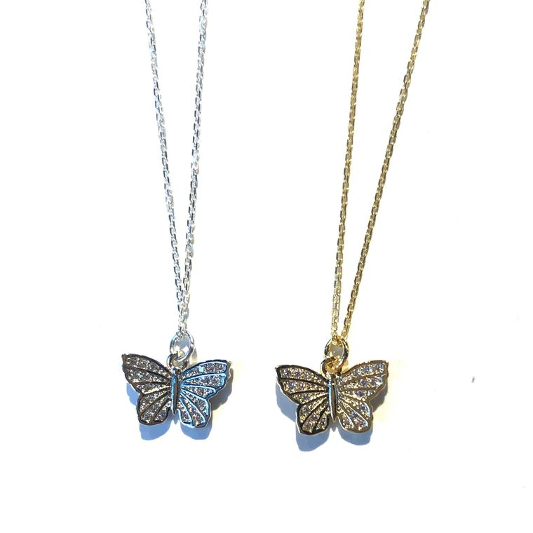 Butterfly Charm Necklace-Silver