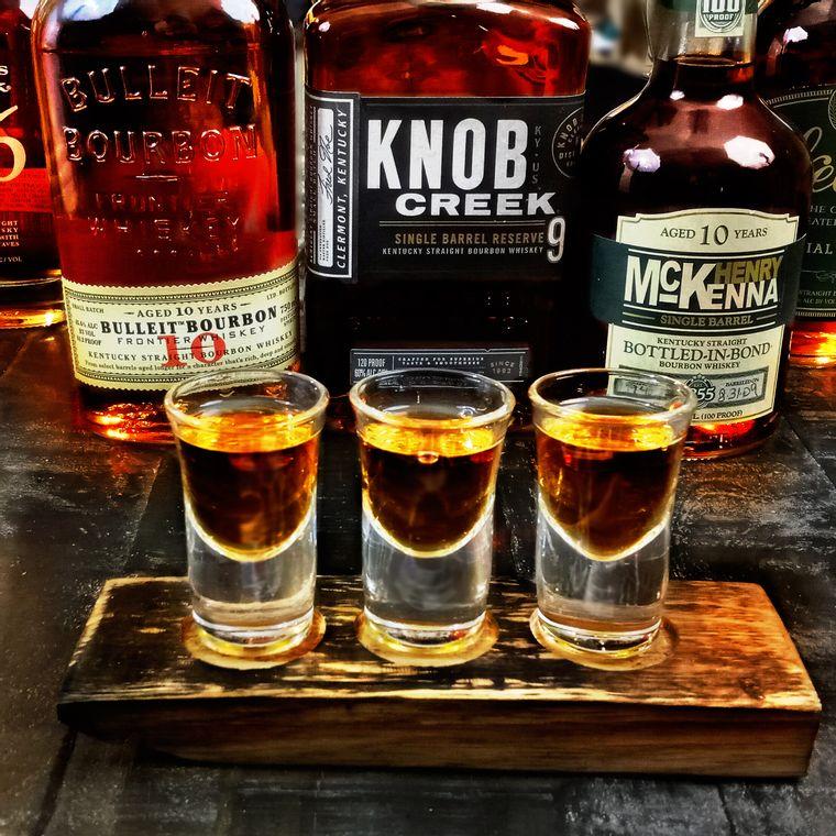 Mini Bourbon Barrel Stave Shot Flight