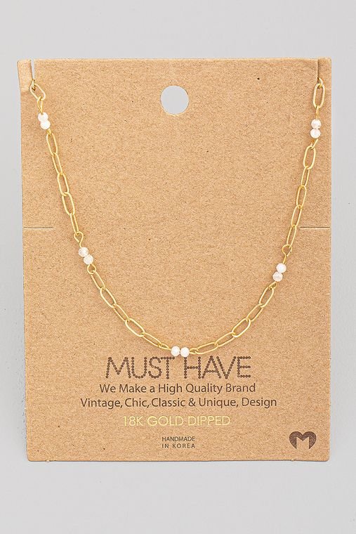 Dainty Chain Link Bead Station Necklace