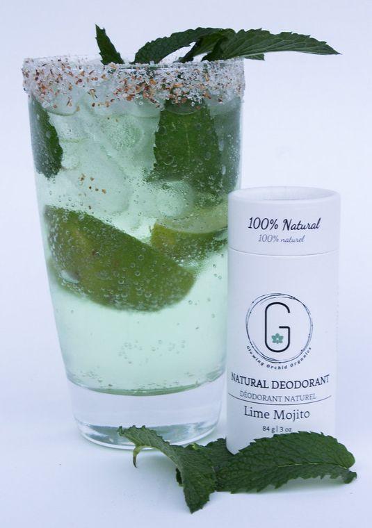 100% Natural Deodorant - Lime Mojito in Biodegradable Paper Tube 84 grams