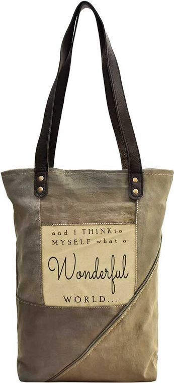 And I Think To Myself Recycled Military Tent Tote