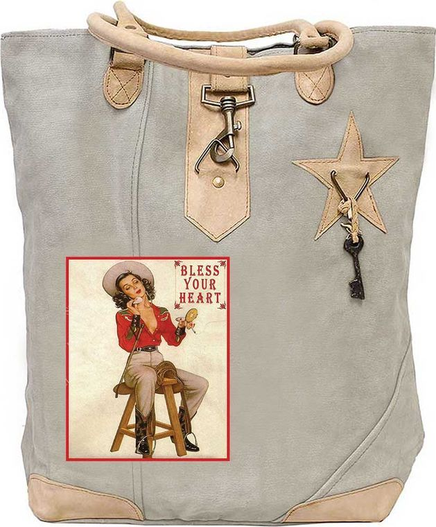Bless Your Heart Cowgirl Canvas Tote