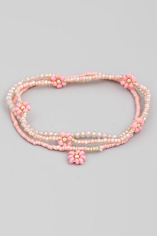 Dainty Floral Bead Bracelet Set