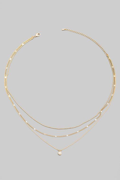 Dainty Layered Min Stud Charm Necklace