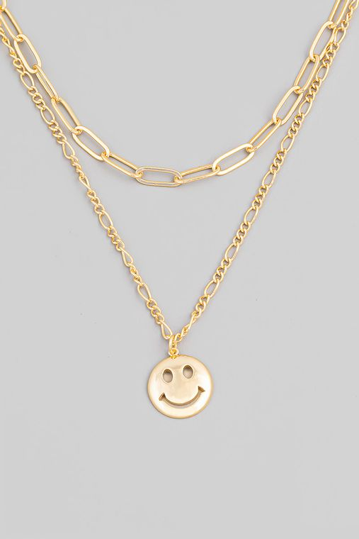 Smiley Face Pendant Chain Layered Necklace