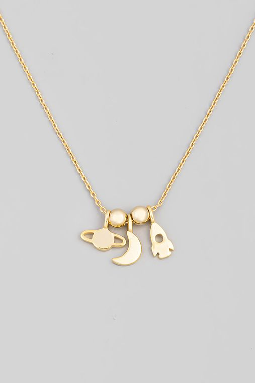 Planet Moon Spaceship Charm Necklace