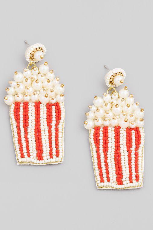 Seed Beaded Popcorn Drop Earrings
