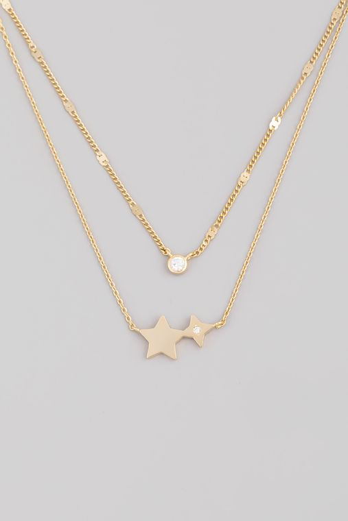 Layered Rhinestone Stud Star Pendant Necklace