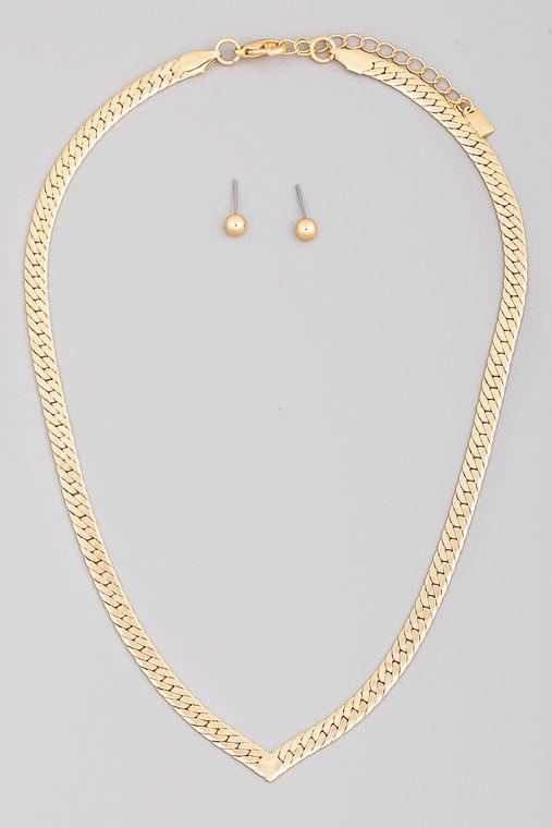V Cut Snake Chain Necklace Set
