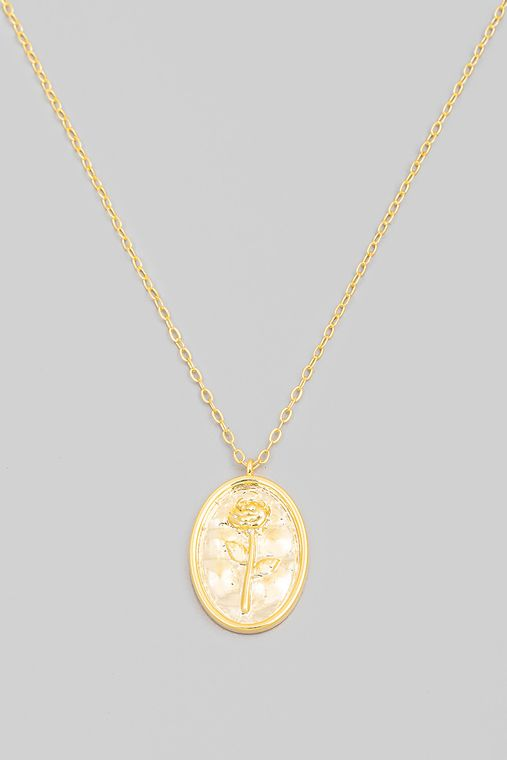 Oval Rose Pendant Necklace