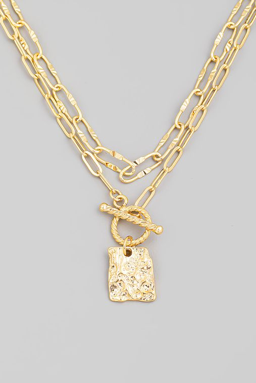 Layered Clip Toggle Chain Square Charm Necklace