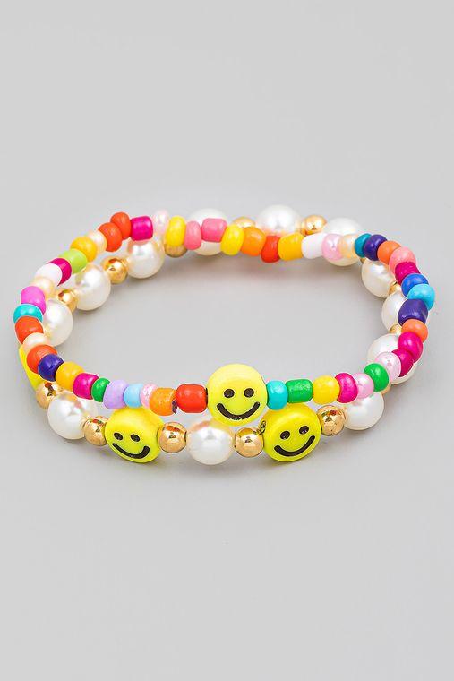 Assorted Smiley Face Beaded Bracelet Set