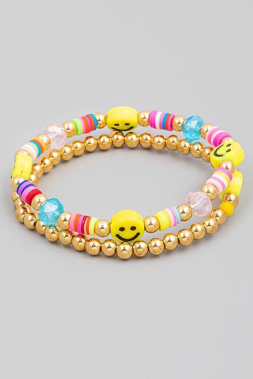Smiley Face Beaded Bracelet Set