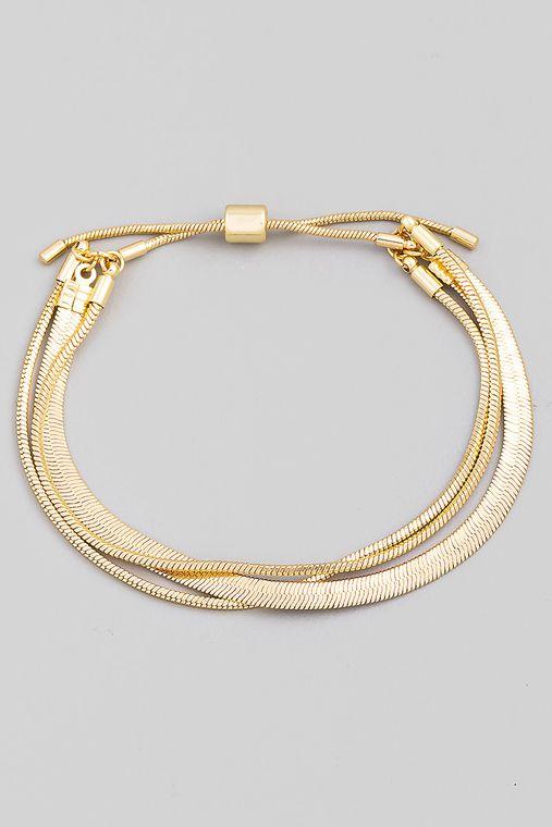 Multi Herringbone Chain Adjustable Bracelet
