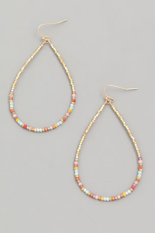 Beaded Hoop Teardrop Earrings