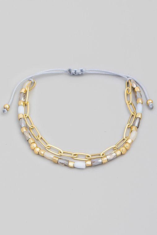 Assorted Beaded Chain Link Adjustable Bracelet