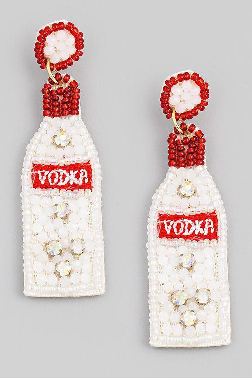 Beaded Vodka Bottle Earrings
