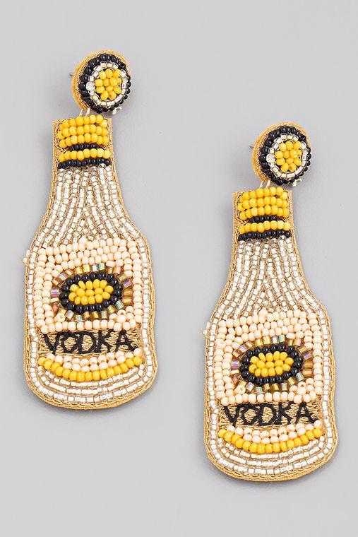 Seed Beaded Vodka Bottle Earrings