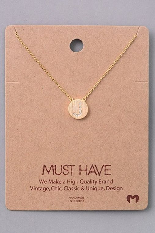 Jewel J Initial Coin Necklace.