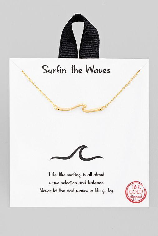 Hammered Wave Pendant Necklace