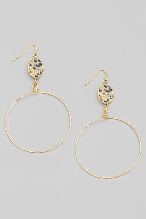 Oval Stone Circle Ring Drop Earrings