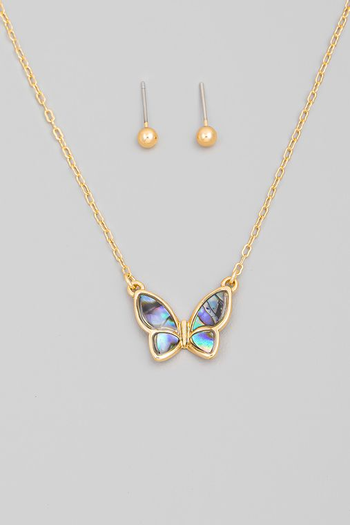 Abalone Shell Butterfly Pendant Necklace Set