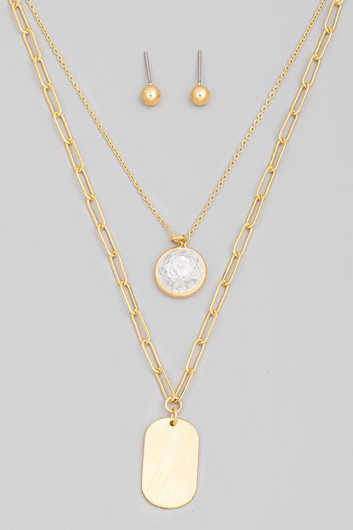 Layered Circle Stone Oval Pendant Necklace Set