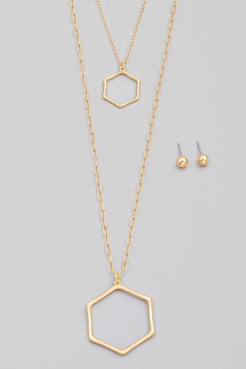 Layered Chain Hexagon Pendant Necklace Set