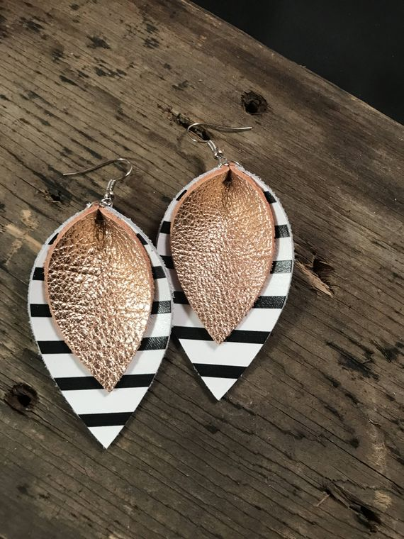 Rose Gold Leather Earrings With Black and White Stripes