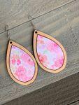 Wood Teardrop Earrings with Pink Floral Watercolors