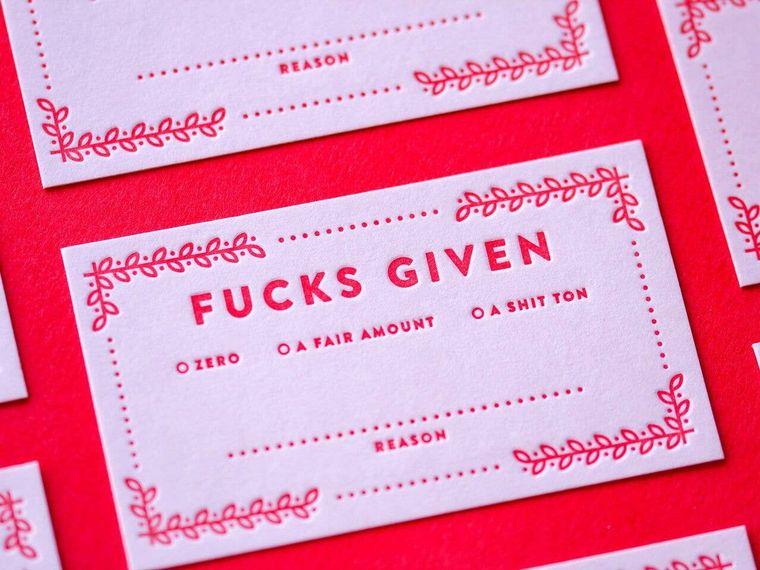 Fucks Given Cards