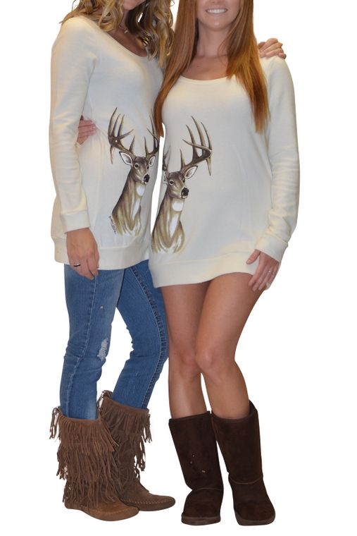Cream deer Sweater Tunic Dress