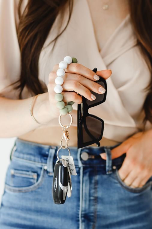 Hands-Free Silicone Beaded Keychain Wristlet - Sage Serenity